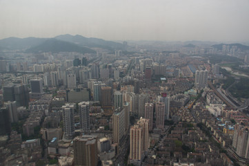 The aerial view to the skyscrapers in the Chinese city