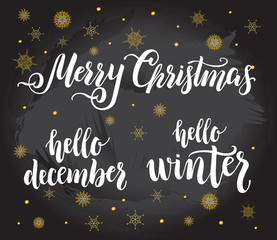 Christmas quotes lettering set. Winter  holiday handwritten calligraphy vector illustration. perfect for design Greeting cards, Invitations and banners.