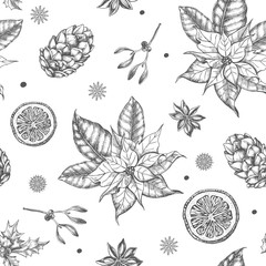 Seamless decorative pattern with Christmas and New Year's attributes -  Christmas star flower, mistletoe, cones, holly berry. Hand drawn winter holidays elements. Perfect for design wrapping paper.