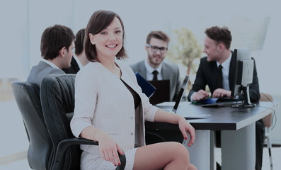 successful young woman accountant in the workplace and the busin