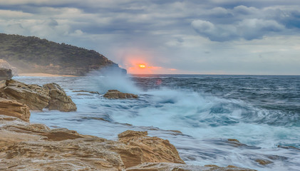 Rocky and Moody Sunrise Seascape