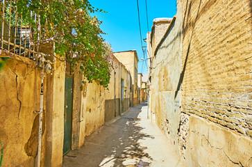 The narrow streets of old Shiraz, Iran
