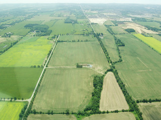 Aerial view of green fields in Ontario