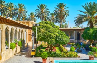 The scenic courtyard of Persian mansion, Shiraz, Iran