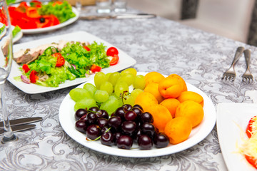 Plate with fruit dessert