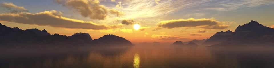 rocky coast on the sea at sunset, banner