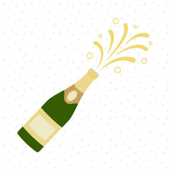 Champagne bottle explosion. Cheers. Celebration. Holiday toast.