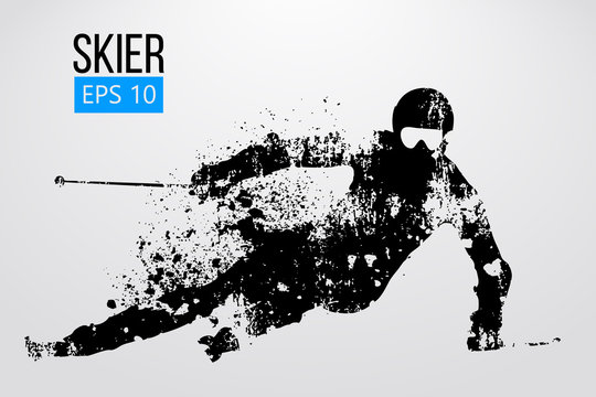 Silhouette of skier isolated. Vector illustration
