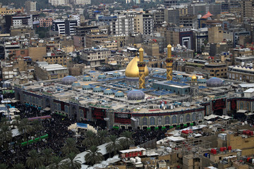 An aerial view shows the Shrine of Imam al-Abbas during the commemoration of Arbain in Kerbala
