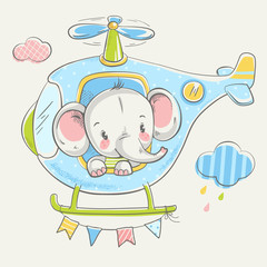 Cute little elephant on a helicopter cartoon hand drawn vector illustration. Can be used for baby t-shirt print, fashion print design, kids wear, baby shower celebration, greeting and invitation card.