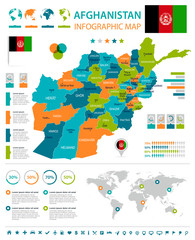 Afghanistan - infographic map and flag - Detailed Vector Illustration