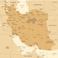 Iran Map - Vintage Detailed Vector Illustration