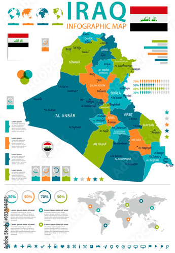 Iraq - infographic map and flag - Detailed Vector