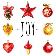 Joy Christmas greeting card. Vintage decorations set