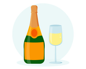 Champagne bottle with champagne glass illustration. Flat design. New year eve concept. Can be used for banners, greeting cards design, etc