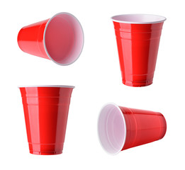 Red plastic party cups set, isolated on white background