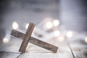 Wooden Chrisian Cross Abstract Background