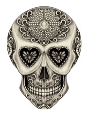 Art Sugar Skull Day of the dead. Hand pencil drawing on paper.