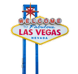Fotorolgordijn Las Vegas The fabulous Welcome Las Vegas sign. Isolated on white background