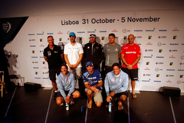 Volvo Ocean Race skippers pose for the photo after a news conference in Lisbon