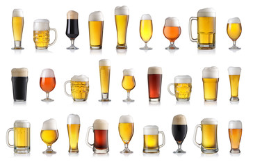Fotobehang Bier / Cider Set of various full beer glasses. Isolated on white background