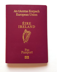 Irish Passport (European Union) cover on a white background.