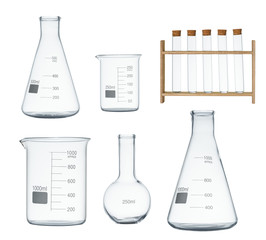 Laboratory glassware set isolated on white background