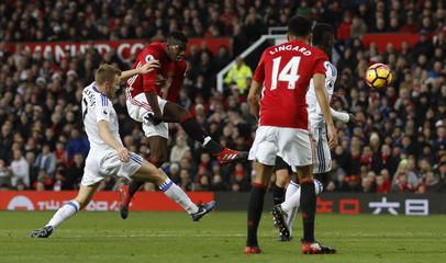 Manchester United's Paul Pogba in action with Sunderland's Sebastian Larsson