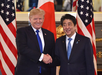 US President Donald Trump shakes hands with Japanese Prime Minister Shinzo Abe before a summit meeting at Akasaka Palace in Tokyo