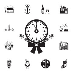 Old clock with tree branch icon. Set of elements Christmas Holiday or New Year icons. Winter time premium quality graphic design collection icons for websites, web design