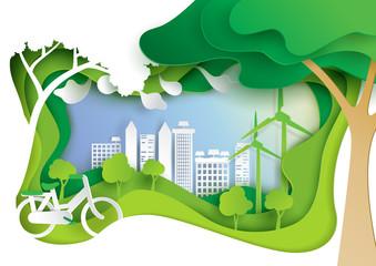Nature landscape and eco friendly concept.Paper carve of environment conservation conceptual design paper art style.Vector illustration.