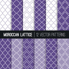 Moroccan Lattice Patterns in Ultra Violet - 2018 Color of the Year. Modern Elegant Backgrounds. Classic Quatrefoil Trellis Ornament. Vector Pattern Tile Swatches Included.