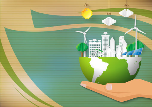 Green Eco concept background.Eco life in green city with save the world concept design.Vector illustration.