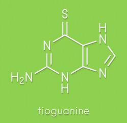 Tioguanine leukemia and ulcerative colitis drug molecule. Skeletal formula.