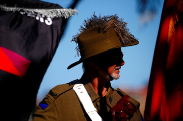 A man wearing an Australian Light Horse uniform attends an official ceremony to mark the centennial of the charge of the 4th Light Horse Brigade at the Battle of Beersheba during World War One, in Sydney