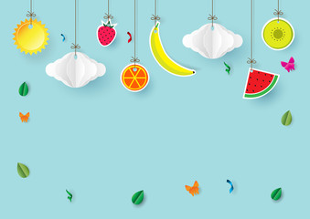 Paper art style of  hanging fruits, clouds and sun for summer sale banner,poster or cards with copy space for text.Vector illustration.