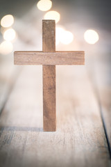 Vintage Wooden Christian Cross Crucifix Background