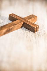Vintage Wooden Christian Cross Crucifix Background