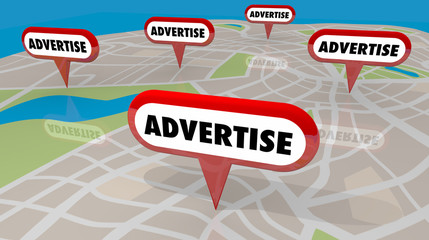 Advertise Pins on Map Marketing Promotion 3d Illustration