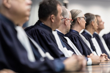 Members of the European Court of Human Rights listen to a speech in Strasbourg