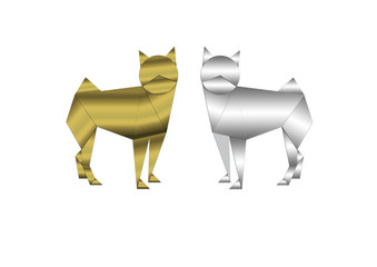 Abstract dogs of gold and silver