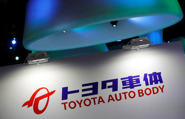 Toyota Auto Body's logo is pictured at the 45th Tokyo Motor Show in Tokyo