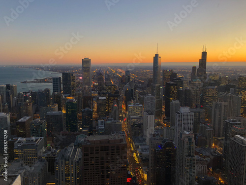 55097333b36 Chicago skyline from above at sunset