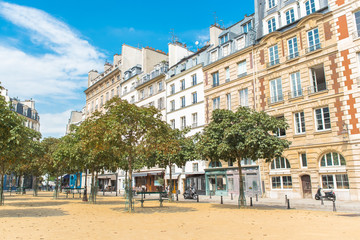 Paris, place Dauphine, beautiful place and public square, parisian facades