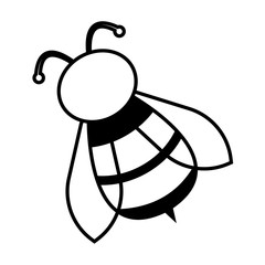 bee icon, outline, vector
