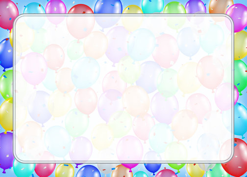 white border text box with colorful balloons
