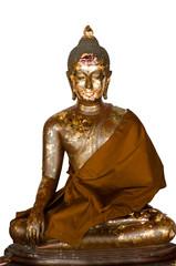 Buddha Brass on white back ground and isolated, White-backed Buddha image