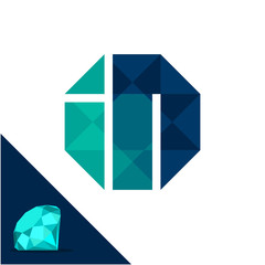 Icon logo with a diamond / polygonal concept with combination of initials letter I & N