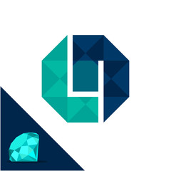 Icon logo with a diamond / polygonal concept with combination of initials letter L & N