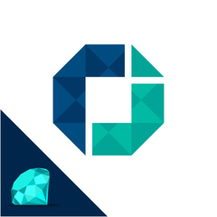 Icon logo with a diamond / polygonal concept with combination of initials letter r & j